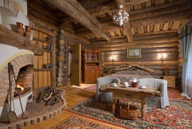 Интерьер деревянного дома кантри